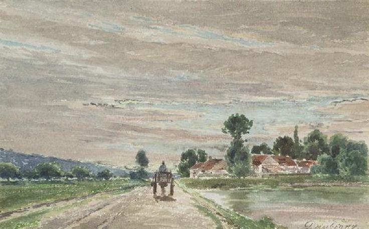 Charles-François Daubigny - Paysage du soir avec cheval et panier