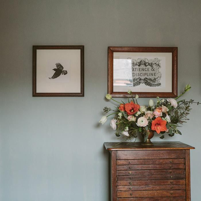 Pretty flowers/wall colour/wood. Spare room colour? Anna Potter's Home | Design*Sponge