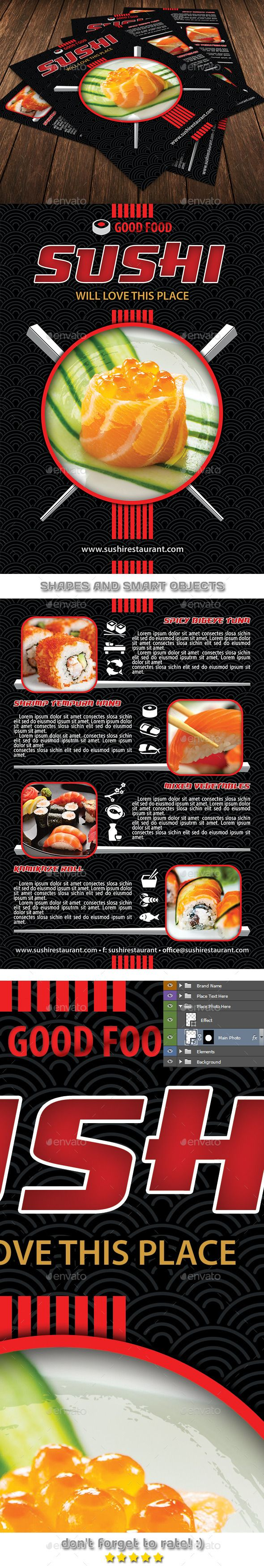 Sushi Restaurant #Menu #Flyer Template 105 - #Restaurant Flyers Download here: https://graphicriver.net/item/sushi-restaurant-menu-flyer-template-105/12140252?ref=alena994