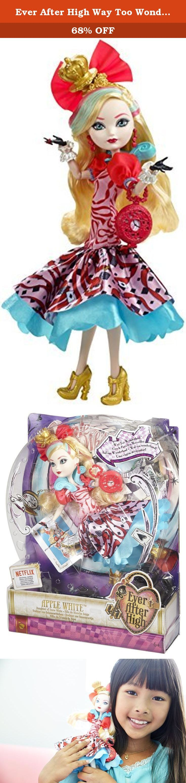 "Ever After High Way Too Wonderland Apple White Doll. Shut the storybooks you thought you knew because at Ever After High, you can Choose Your Own Ever After! For these teenage sons and daughters of the most famous fairytales ever, every day can turn into an epic day. In the epic Netflix Original Series, ""Way Too Wonderland,"" Raven Queen, daughter of the Evil Queen, tries to magically reverse her mother's curse on Wonderland and accidentally transports herself and her friends to Wonderland..."