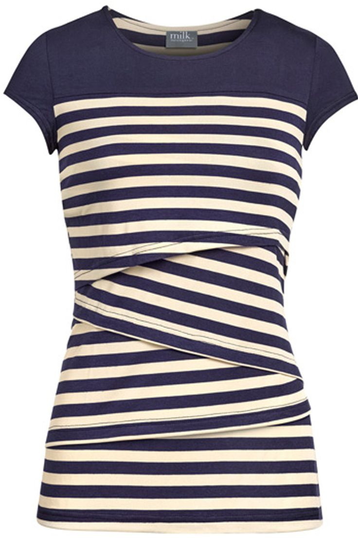 Striped solid yoke nursing top   Navy