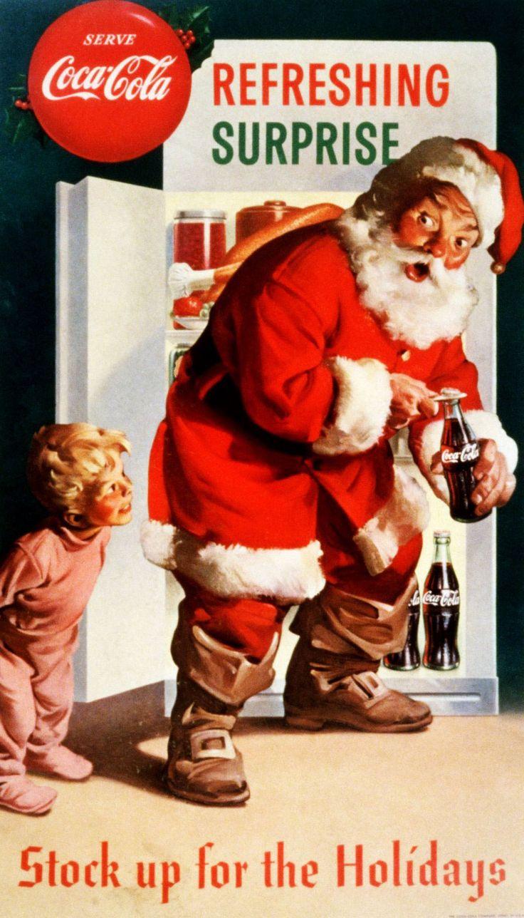 retro santa claus posters coca cola holiday and. Black Bedroom Furniture Sets. Home Design Ideas