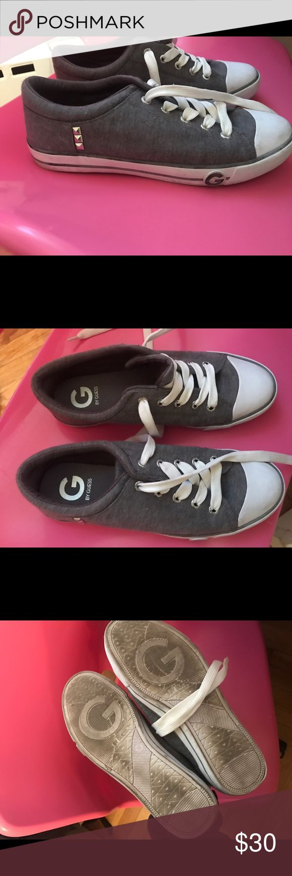 Grey guess shoes Converse looking grey Guess shoes perfect for the spring. Only worn about 3 times G by Guess Shoes Sneakers