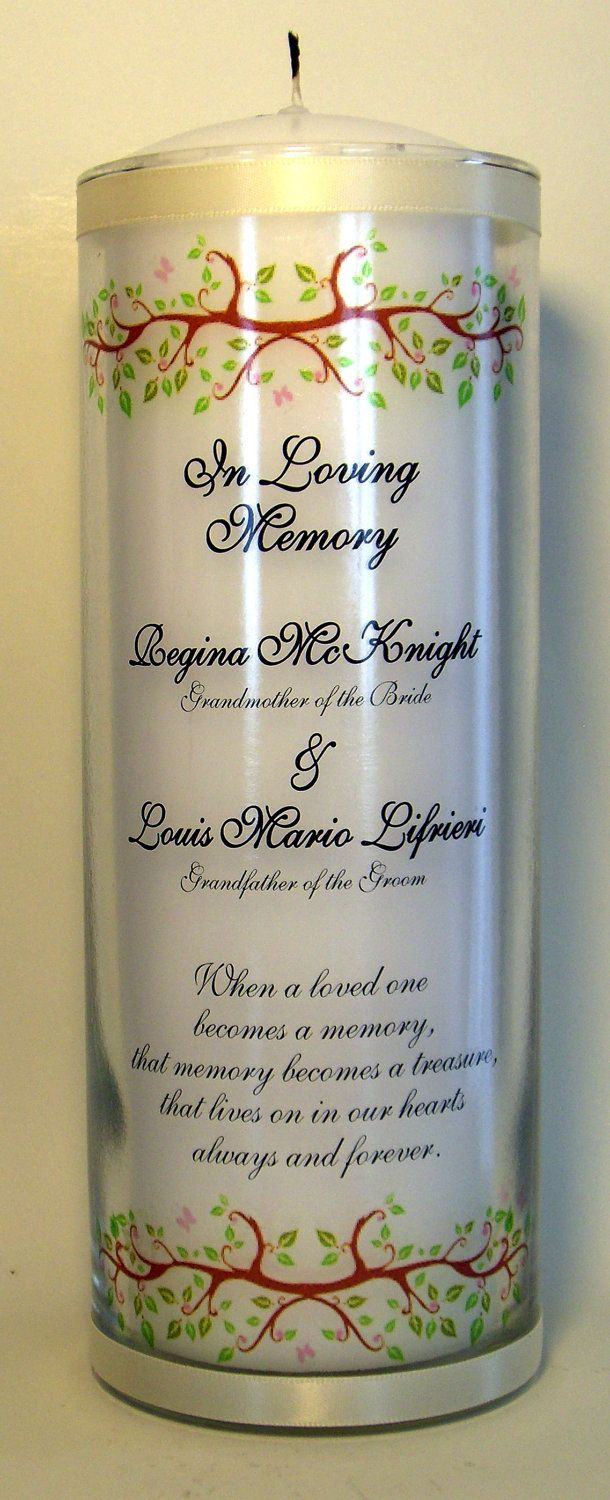 Customizable Vase. Remembrance candle for wedding.