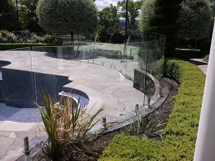 Image result for glass fence for a round pool