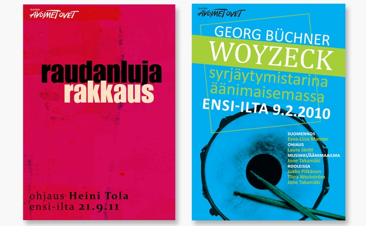 """2 posters designed for Theatre """"Avoimet Ovet"""" in Finland, 2010 and 2011"""