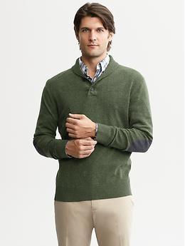 Extra-fine merino buttoned shawl-collar pullover | Banana Republic