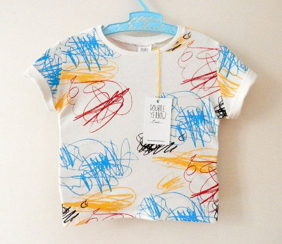 SCRIBBLES baby and kid shirt. 4-color silkscreen on soft white organic cotton. 0-6m / 6-12m / 12-18m / 2T / 3T / 4T