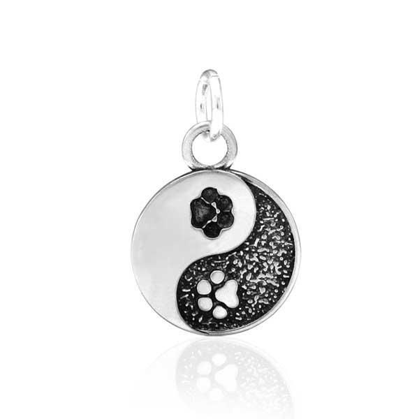 Sterling Silver Yin And Yang Dog Paw Print Charm