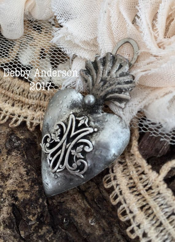 One of a Kind Ex Voto Sacred Heart Miraculous Mother Forged Soldered Pendant by Debby Anderson