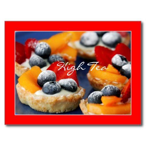 Postcard with High Tea fruit cake. Ansichtkaart met High Tea fruit taartjes. Geschikt voor uitnodiging, wenkaart, briefkaart, etc...