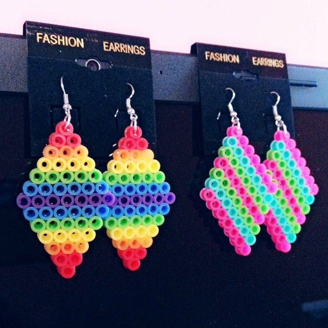 Earrings perler beads by DuctastikDesignsByAshley