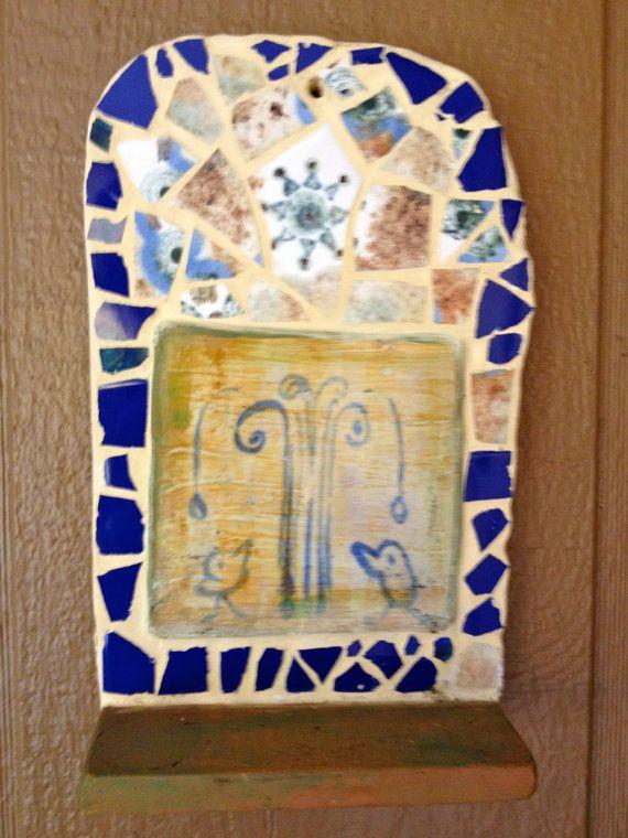 Vintage Handmade Ceramic Tile Mosaic Wall Altar by outofdrawers, $22.00