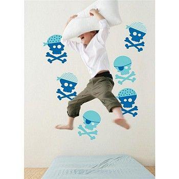 Muursticker Forwalls Piraat Blauw - De stickers zitten op 2 vellen van 60 cm (hoogte) x 40 cm (breedte) op ieder vel zitten drie doodshoofdjes.