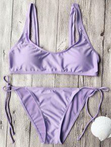 Tie Side String Scoop Neck Bikini Set PURPLE : Bikinis S | ZAFUL