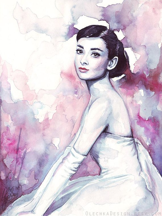 Audrey Hepburn Painting Fashion Watercolor by OlechkaDesign, $12.00