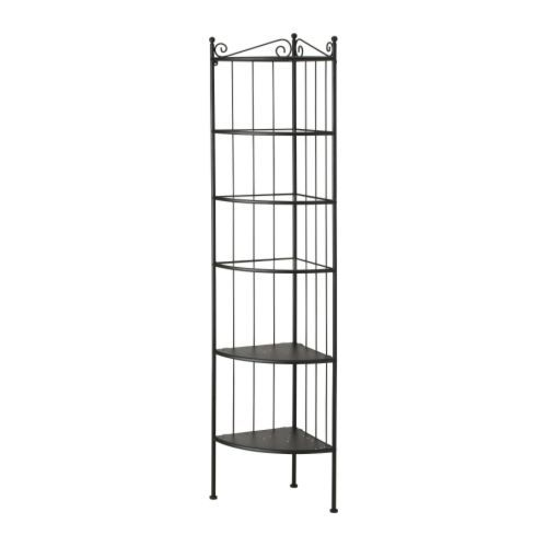 bathroom storage idea for our apartment.    RÖNNSKÄR corner shelf unit, black, from  ikea.