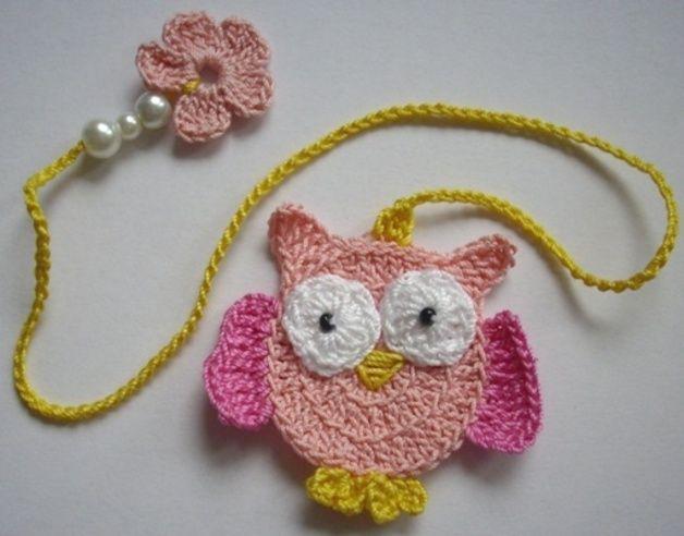 Crochet - Bookmark owl pink / pink - a designer piece of Stokkan on DaWanda