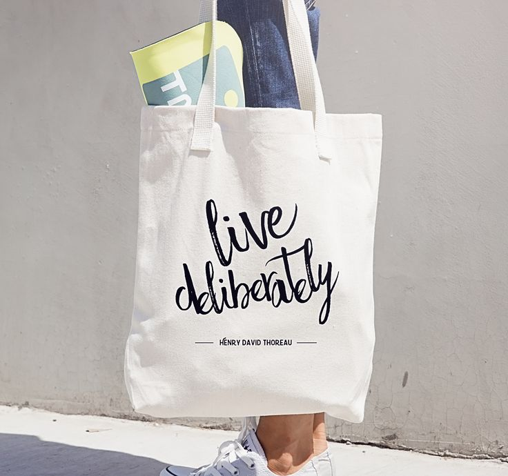 Live Deliberately Book Bag from Thoreau