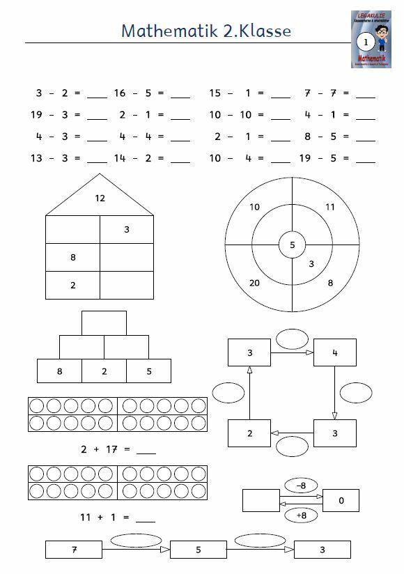 Kostenloses Arbeitsblatt 2.Klasse Mathematik Subtraktion ...