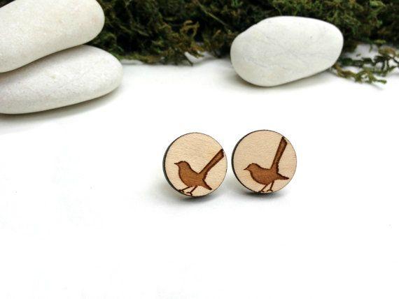 Bird studs Willie Wagtail wood laser cut earrings by corejewellery, $18.00