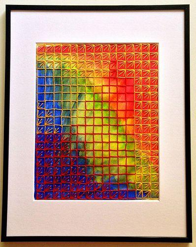 1st Grid, Watercolor & Stitch