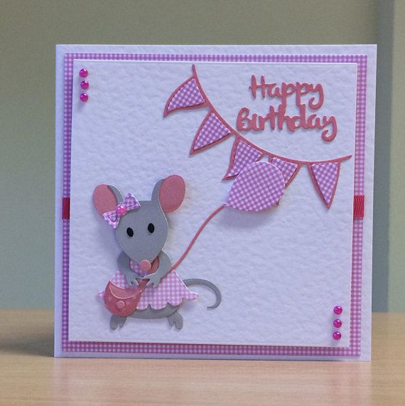 Birthday Card Cute Mouse Birthday Card For Children Kids Women