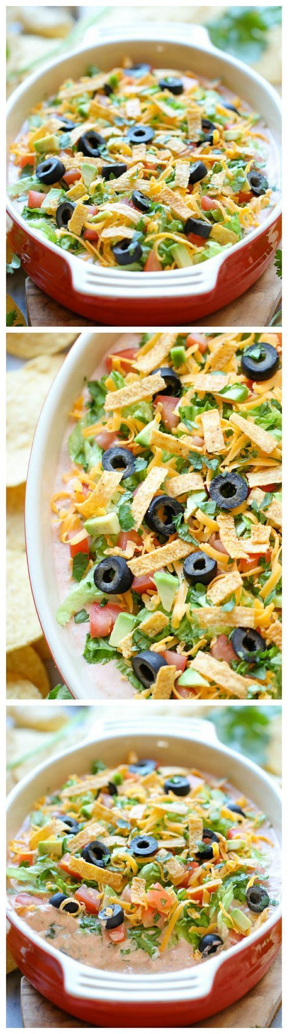 Skinny Taco Dip - Skip the guilt in this lightened up, super easy,10-min taco dip. Perfect as a party appetizer for game day!