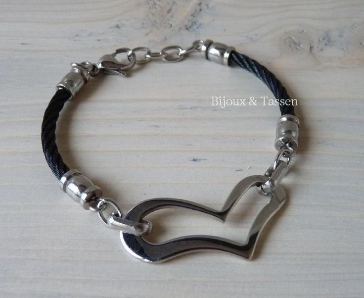 RVS armband met hartschakel
