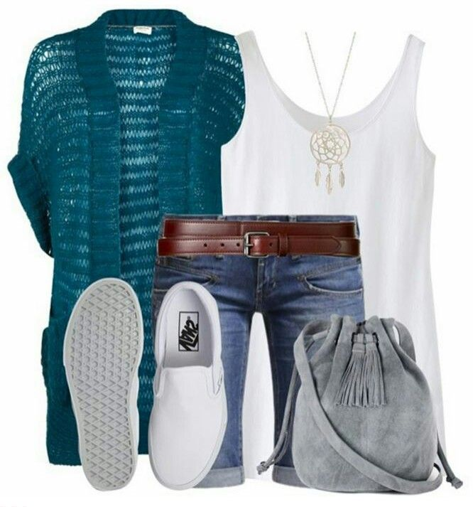 Long jean shorts / white tee / white sneaks / easy pop of color layer = perfect for any body type