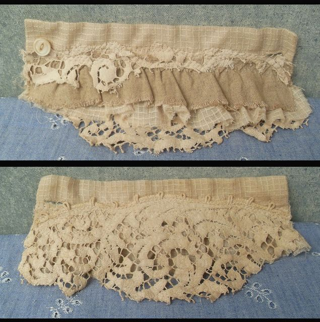 fabric wrist cuff from salvaged textiles prairie cottons and antique lace | Flickr - Photo Sharing!