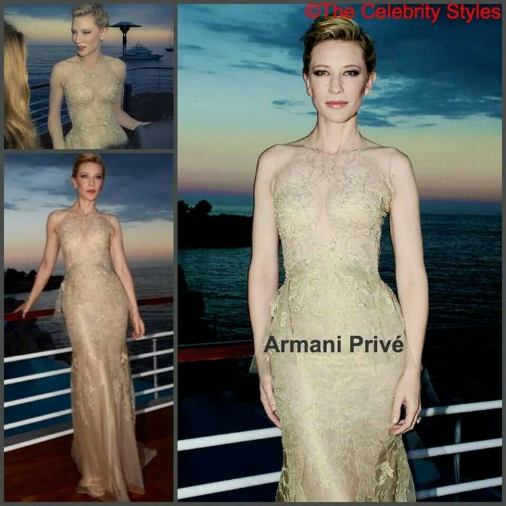 The Australian actress Cate Blanchett was wearing an Armani Privé dress to the Vanity Fair And Armani Party held during the 67th Annual Cannes Film Festival on Saturday (May 17) in Cap d'Antibes, France.  The embellished detailing, gold lace overlay, organza detail are fabulous, Cate didn't put on much accessories to detract with her beautiful gown. As usual, Gold suits her the best! Agree?   #ArmaniPrivé #CateBlanchett #Australian #actress #VanityFairAndArmaniParty #Armani…