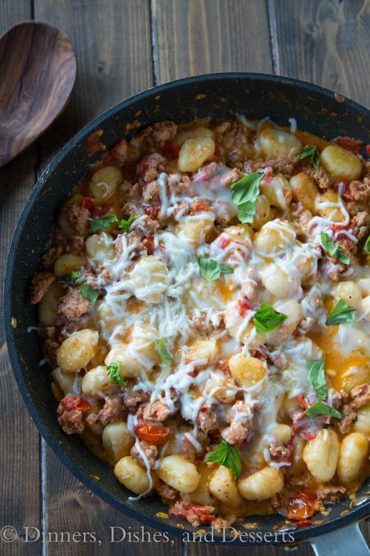 Cheesy Gnocchi Skillet is a one pan, quick and easy dinner.  A healthified version of pure comfort food.