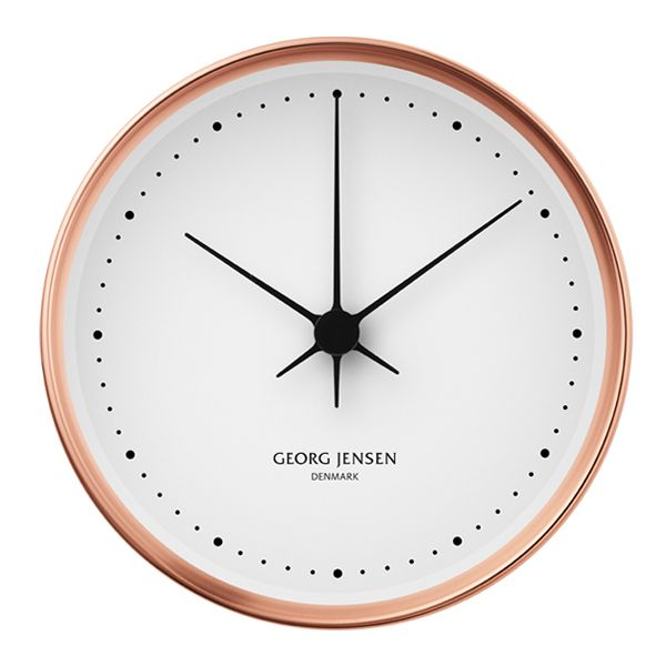 HK clock by Georg Jensen with copper frame.