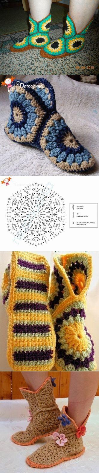 сапожки из шестиугольника / Вязание крючком / Женская одежда крючком. Схемы.
