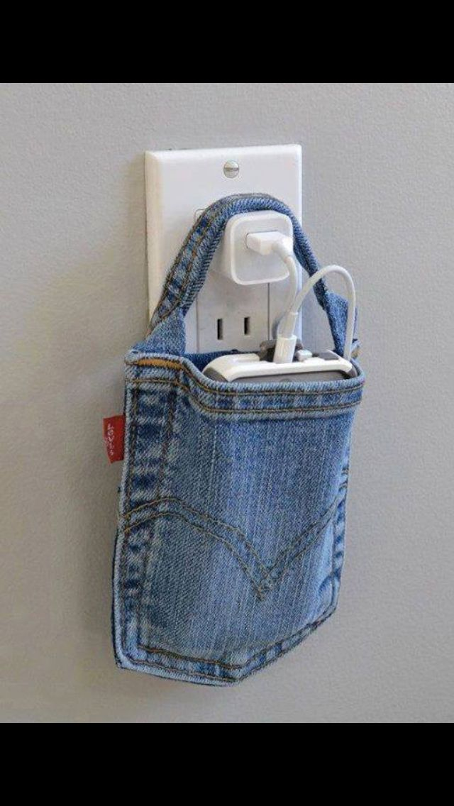 Blue jean phone charger holder