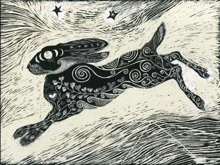 Kay Leverton - Scratchboard  This Hare is akin to something I'd like for a tattoo.