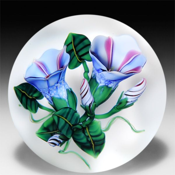 Ken Rosenfeld 2014 morning glories petite paperweight.  by Ken Rosenfeld