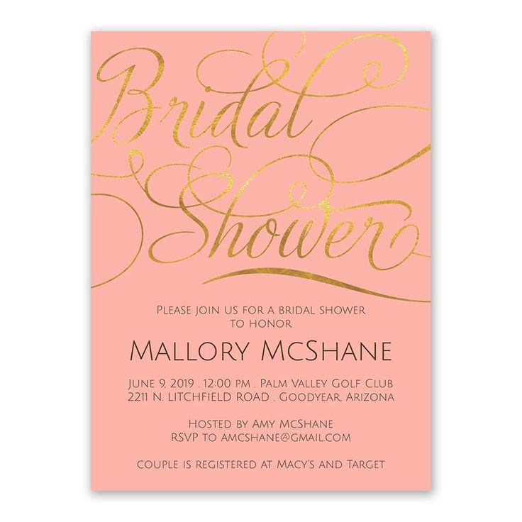Present your upcoming event in luxurious script font and the beauty of faux gold foil, which is printed against your choice of background color on these gorgeous bridal shower invitations.