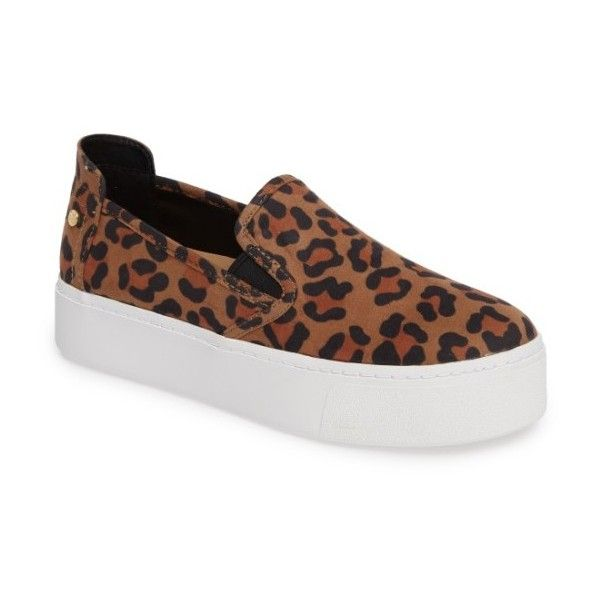 Women's Bcbg Casey Platform Slip-On Sneaker (57.910 CLP) ❤ liked on Polyvore featuring shoes, sneakers, leopard suede, leopard print shoes, suede slip on shoes, suede sneakers, slip on sneakers and leopard print slip-on sneakers