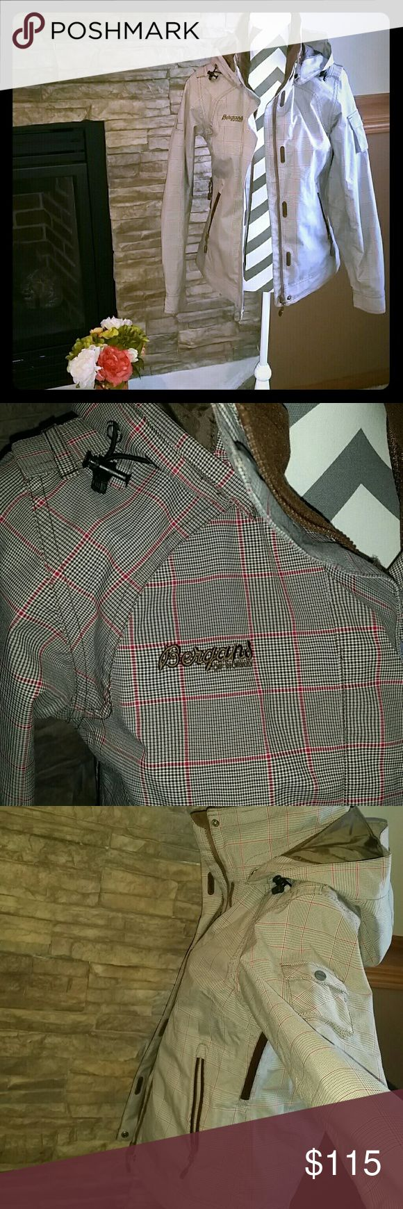 **BERGANS of Norway Coat** Great condition, hardly worn, brown/burnt orange color plaid. Tons of storage places, removable hood, adjustable waist and air vents under arms. Bergans of Norway Jackets & Coats