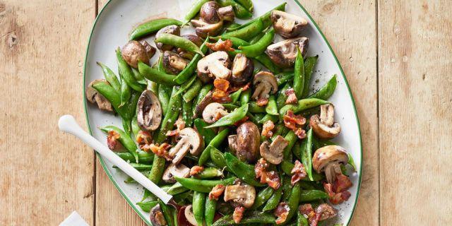 Roasted Snap Peas & Mushrooms