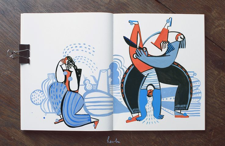 Gosia Herba mixes gouache, collage, pencils, crayons, and watercolor to create beautiful compositions in her sketchbook