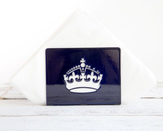 Napkin holder Deep blue glossy UK CROWN by DesignAtelierArticle, $19.00