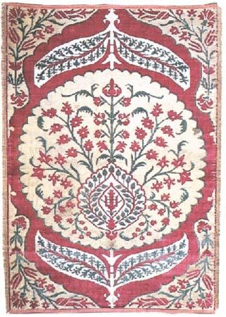 Turkish fabrics are unique in weaving features. Research identified about six hundred and fifty names such as Kadife, Atlas, Gezi, Canfes, Selimiye, Hatayi, Catma, Seraser, Sevayi, etc. The main material was silk with gold and silver threads, rich in motifs such as flowers (tulips, carnations, roses, spring blossom, and hyacinth), trees (apple, date palm, cypress), animals (peacock, deer), crescent moon, star motifs, fruit (pomegranate, apple, date, artichoke, pineapple), etc.