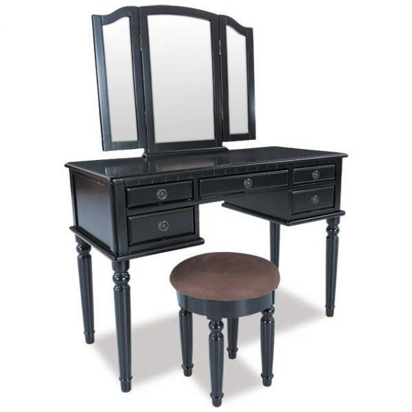 3pc Vanity Set With Mirror And Stool Mirrored Bedroom Furniture