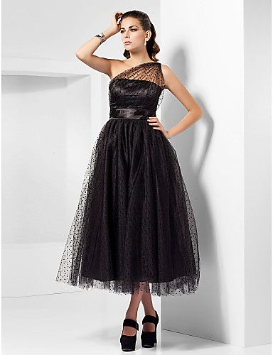 A-line One Shoulder Tea-length Tulle Cocktail Dress Inspired By Kaley Cuoco At The Emmys - USD $ 129.99
