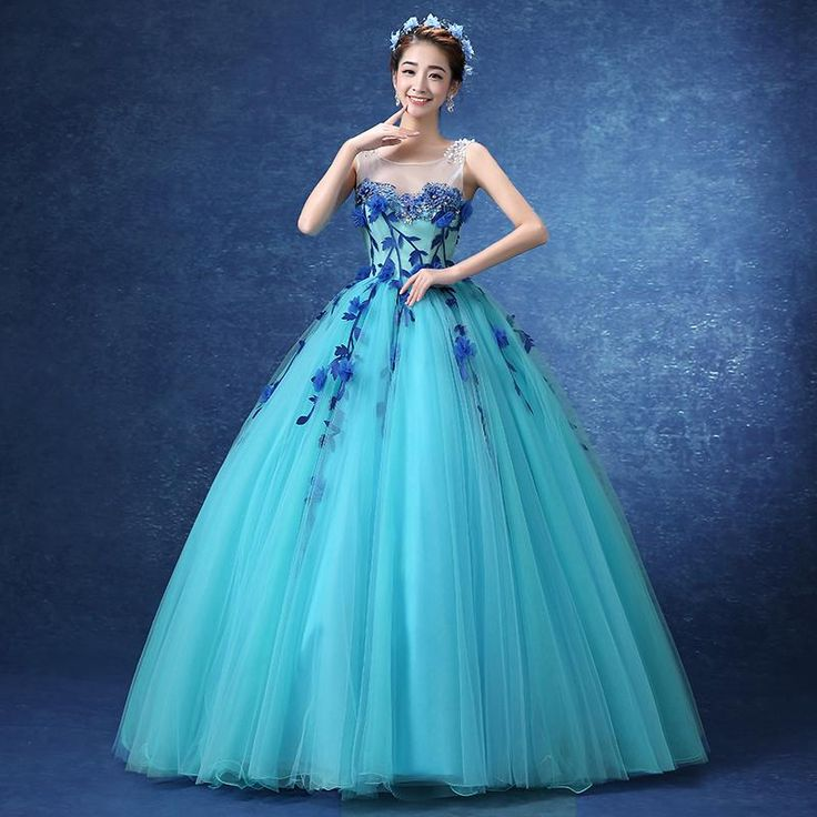 Medieval Renaissance Light Blue And White Gown Dress: Luxury Floral Light Blue Flower Vine Embroidery Princess