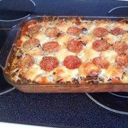 "Pizza Spaghetti Casserole | ""Freakin' delicious! Add any extra pizza toppings (black olives, sausage, onions, green peppers, etc.) if desired."""