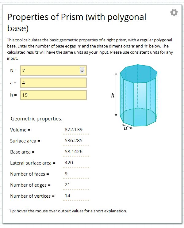 Calculate the geometric properties of a prism with base a regular polygon.